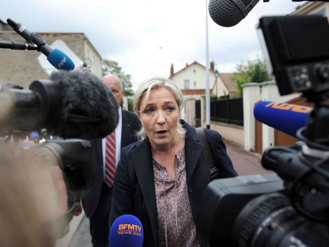 The FN president, Marine le Pen, arrives for a meeting of party leader in Nanterre