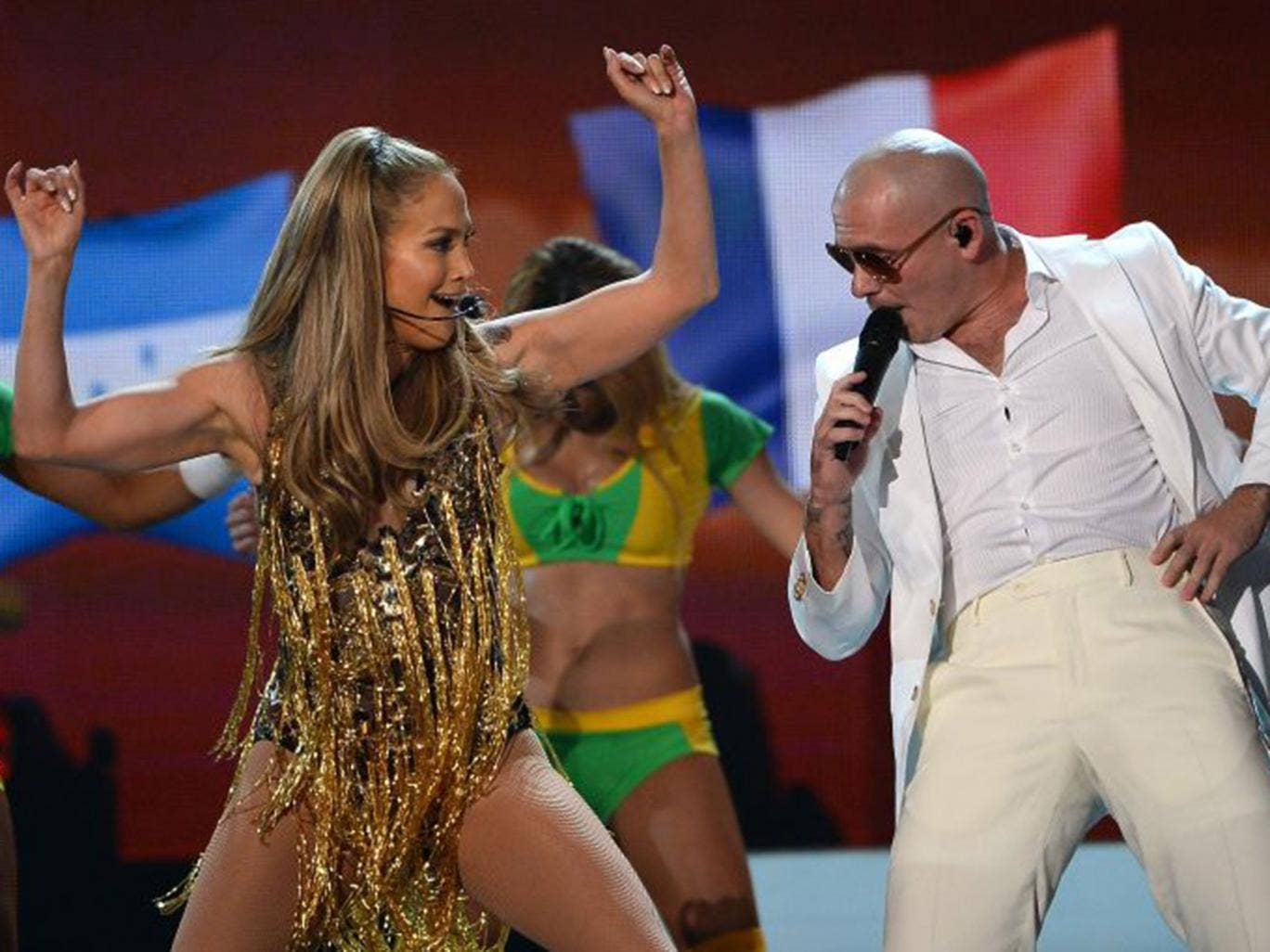 Pitbull on stage with Jennifer Lopez in Las Vegas earlier this month