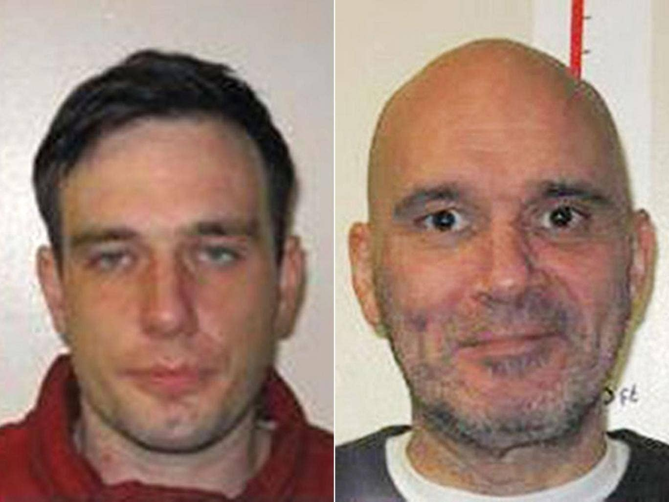 Lewis Powter, left, failed to return to HMP Hollesley Bay on Sunday night. Paul Oddysses had absconded from the same prison the day before