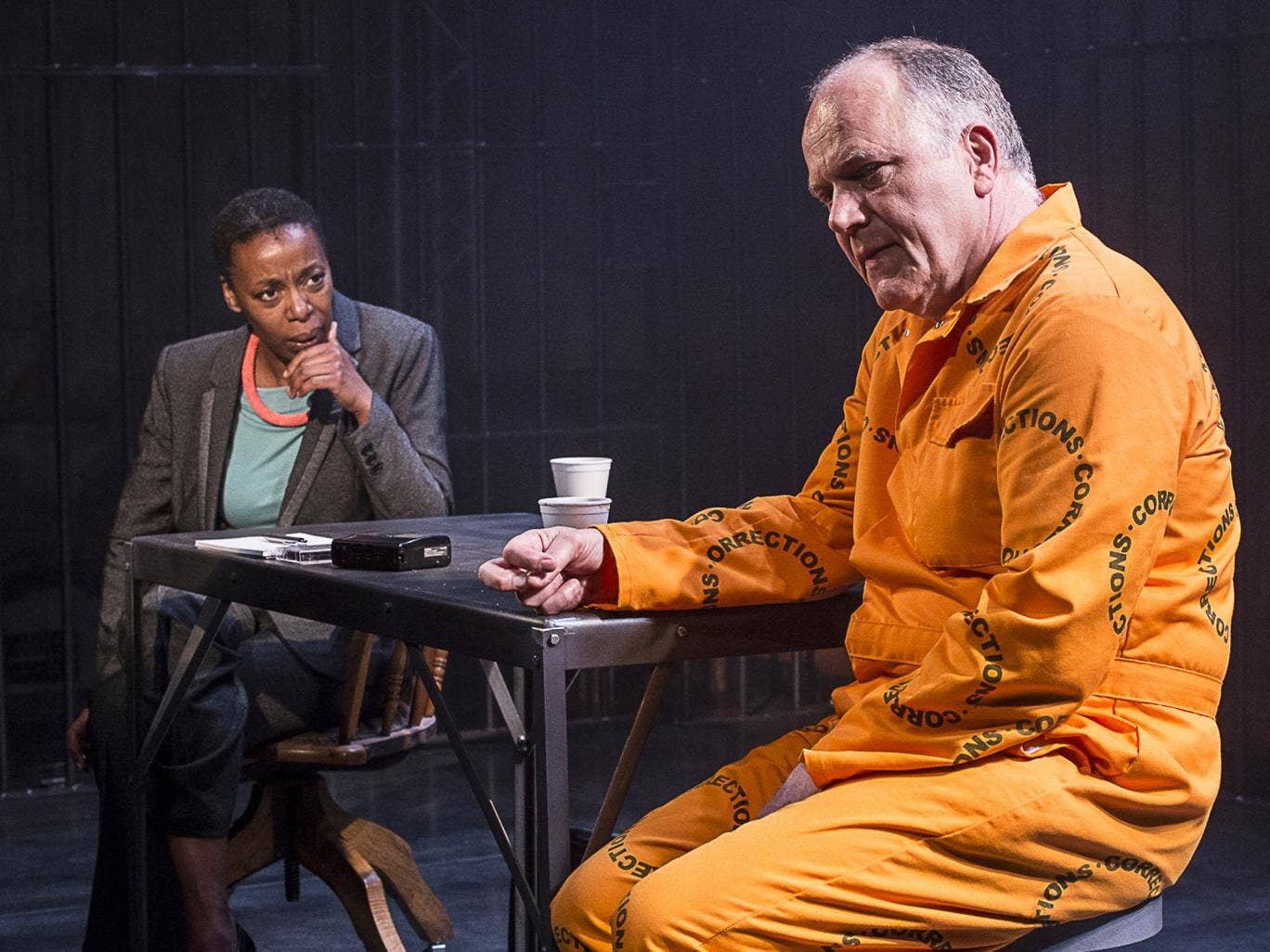 Prison life: Noma Dumezweni and Matthew Marsh in 'A Human Being Died That Night'