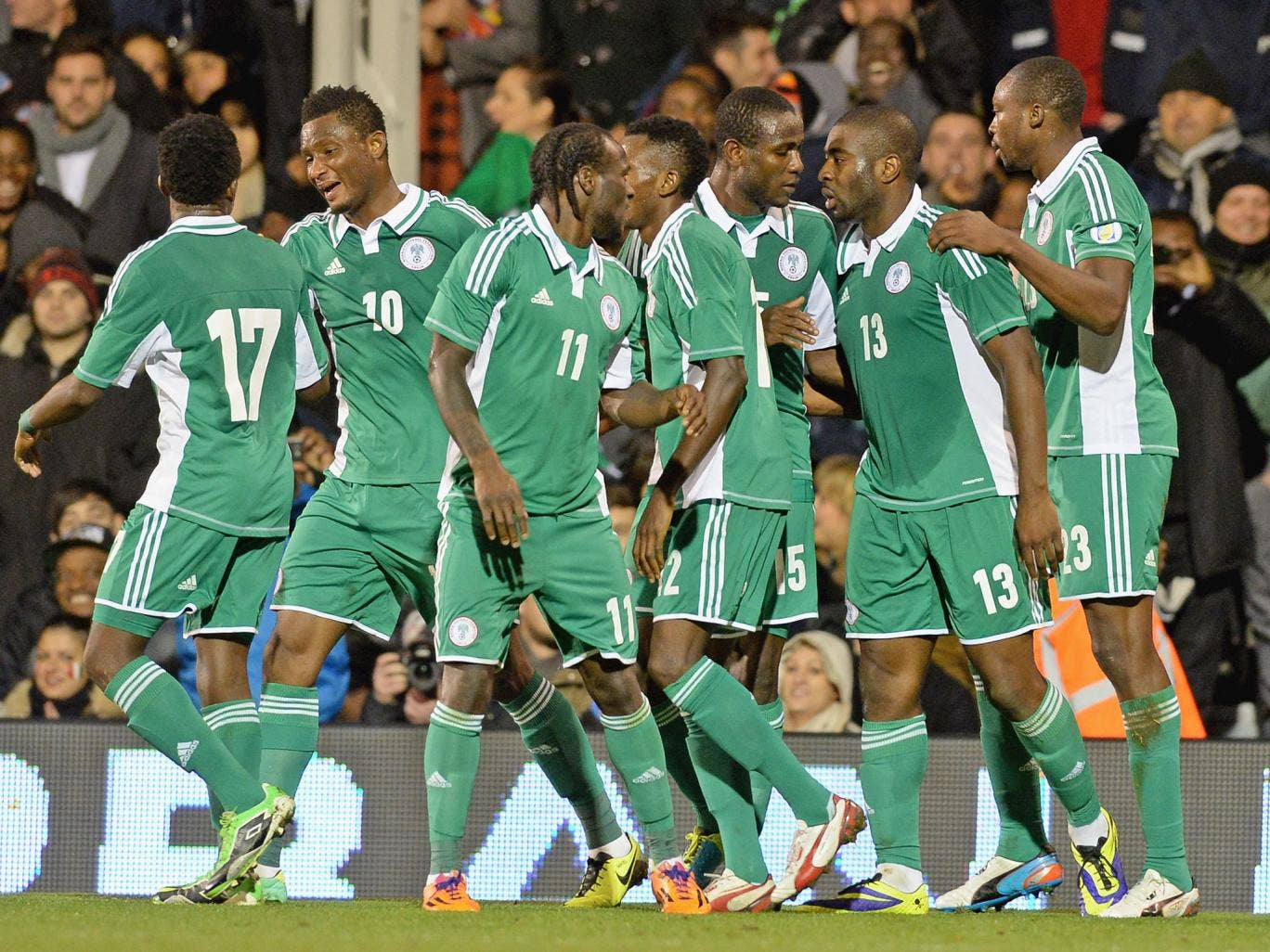 Nigeria players during a friendly played at Craven Cottage last year