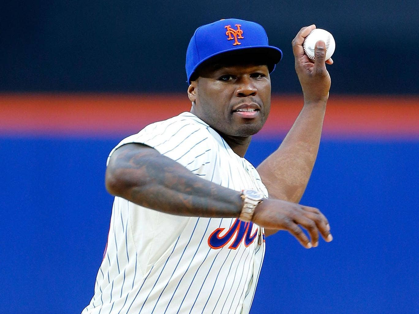 50 Cent throws the first pitch ahead of New York Mets v Pittsburgh Pirates game