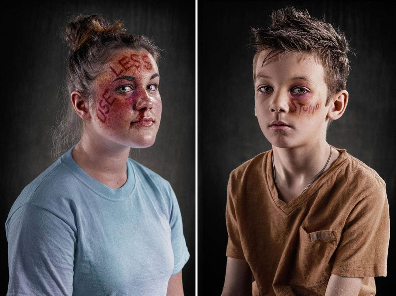 The Weapon of Choice campaign used professional make-up artists and photographers to imagine a world where words cause physical as well as mental injury