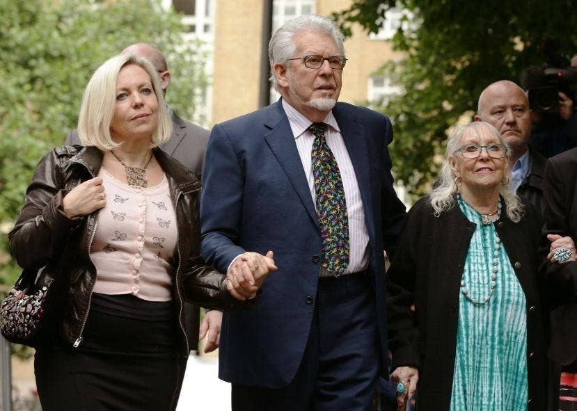 Rolf Harris with daughter his Bindi outside Southwark Crown Court