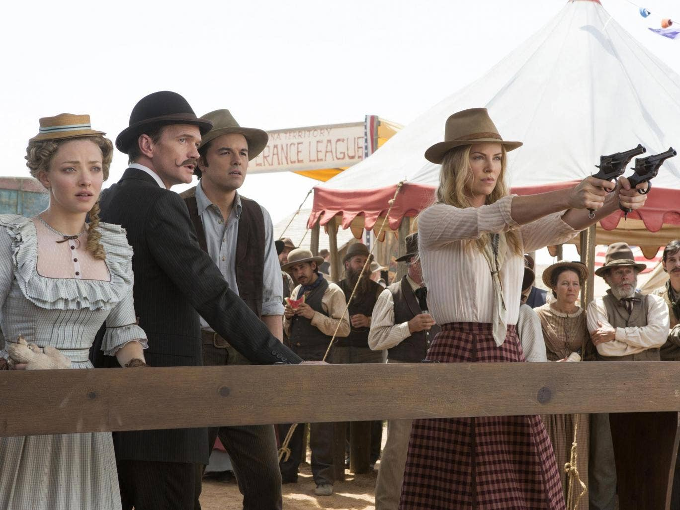 'A Million Ways to Die in the West', with Amanda Seyfried, Neil Patrick Harris, Seth MacFarlane, and Charlize Theron