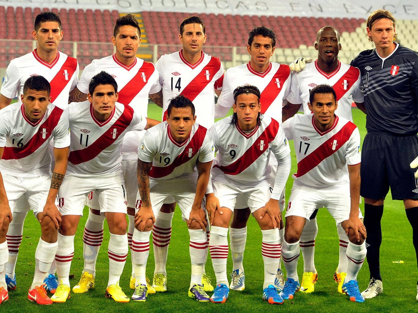 The Peru team pose for a picture prior to a World Cup qualifier during their failed attempt to qualify for the tournament in Brazil