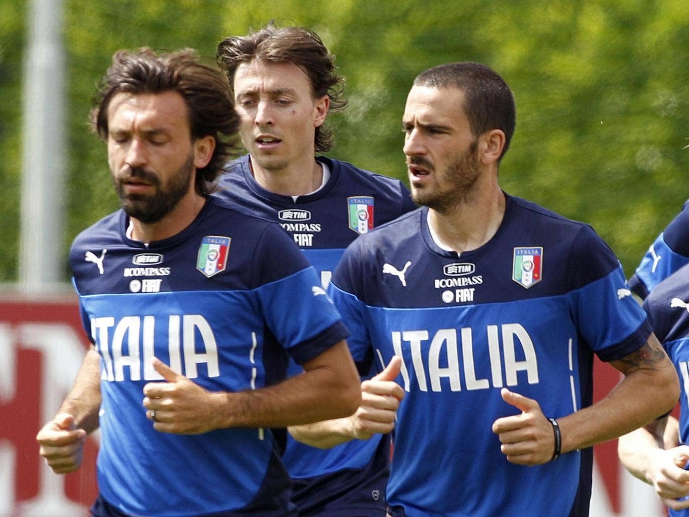 Andrea Pirlo, Riccardo Montolivo and Ciro Immobile in training with Italy before tonight's friendly with Ireland at Craven Cottage