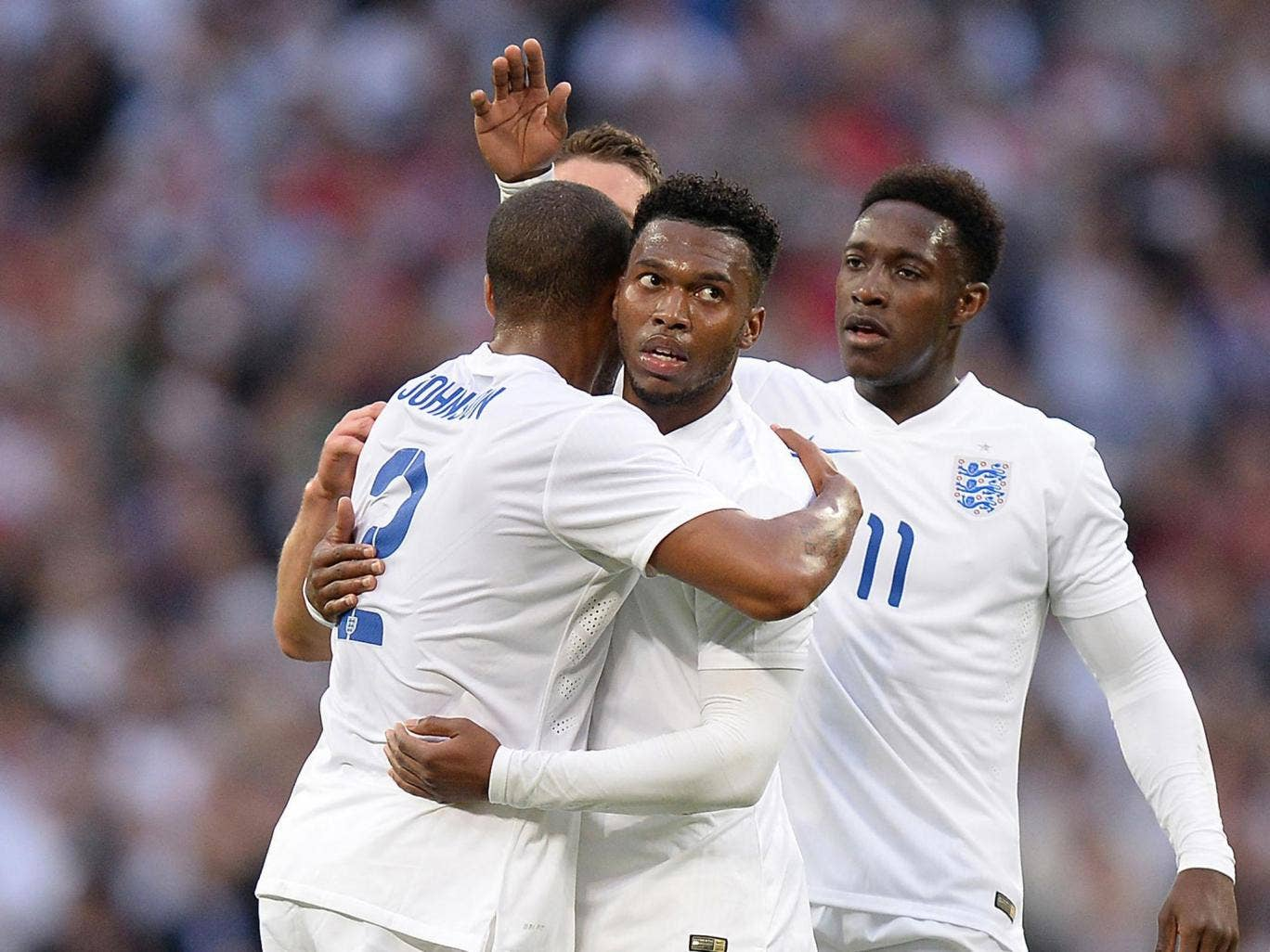 Daniel Sturridge (centre) celebrates his opening goal