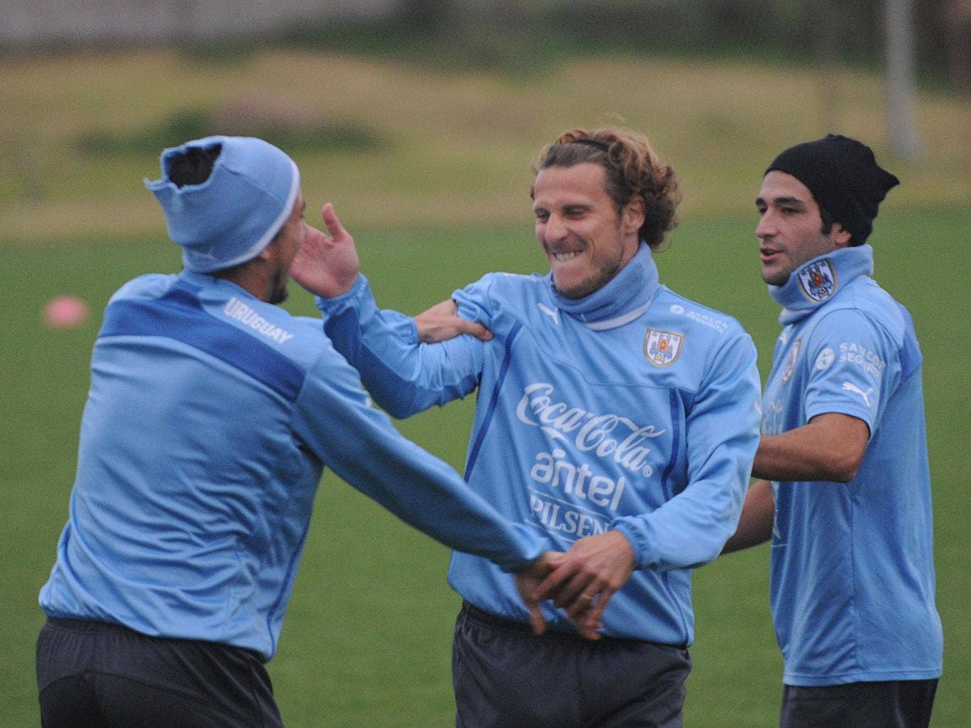 Diego Forlan plays around during Uruguay's preparations for the World Cup