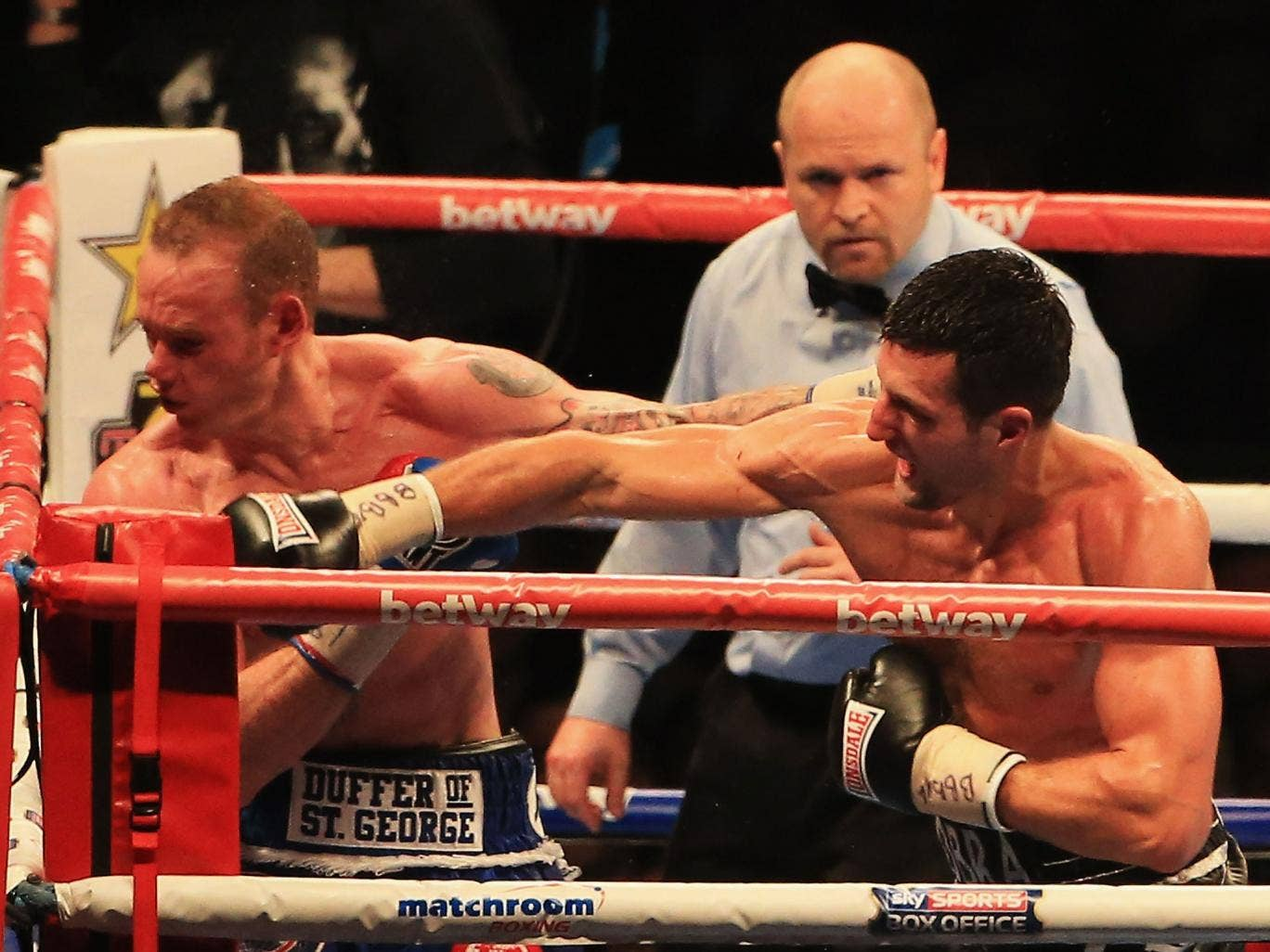 Carl Froch knocks out George Groves during the IBF & WBA World Super Middleweight Title Fight at Wembley
