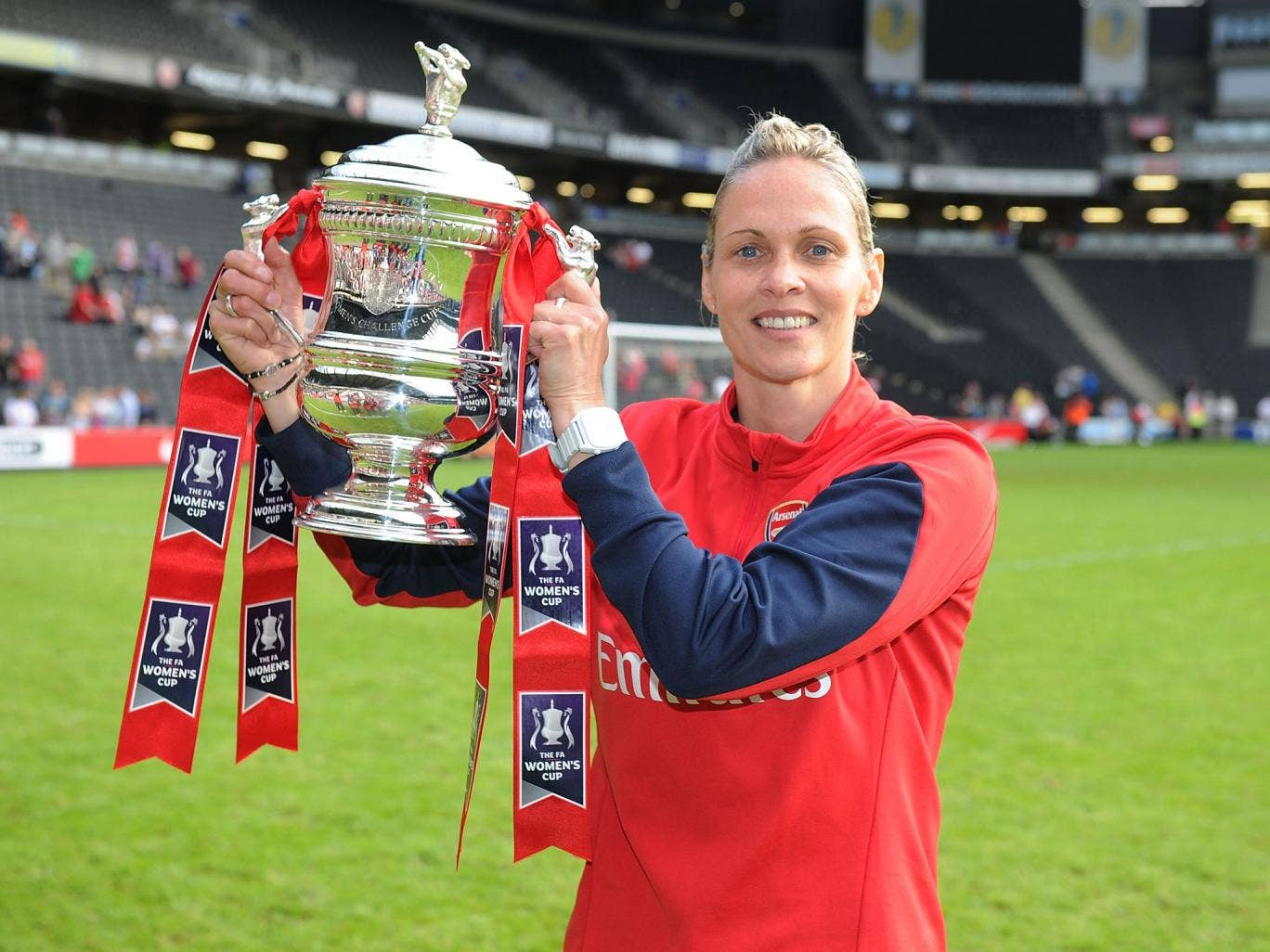 Arsenal Ladies manager Shelly Kerr celebrates after the match at Stadium mk