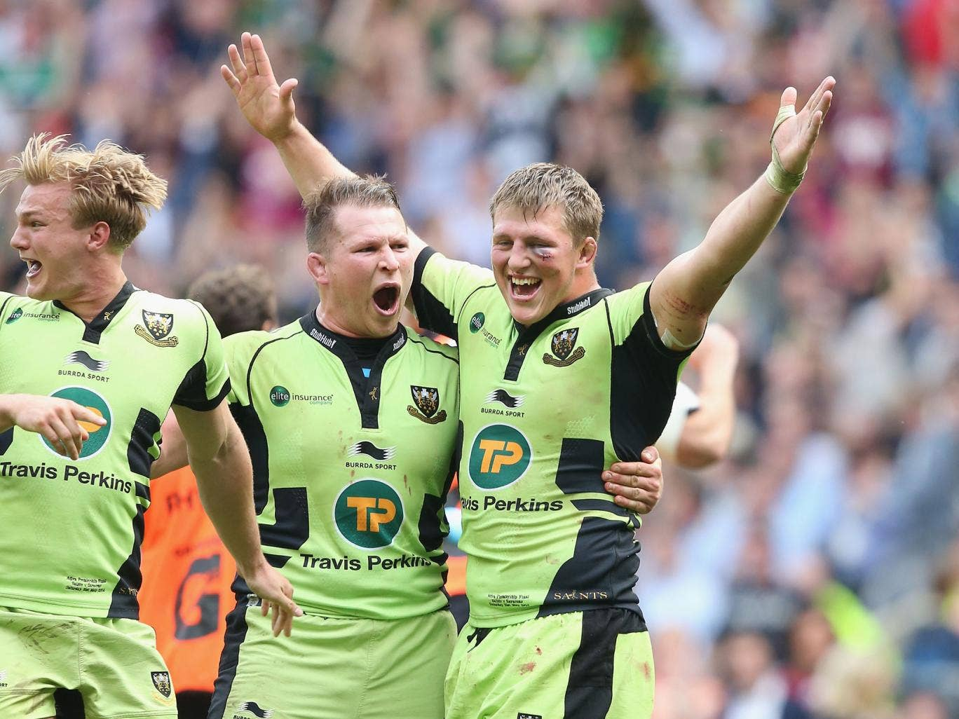 Dylan Hartley embraces Alex Waller after the latter scored the match winning try in the Premiership final