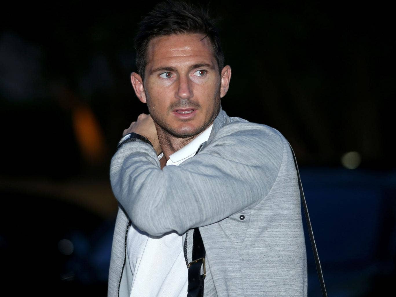 England midfielder Frank Lampard arrives with the squad in Miami on Sunday