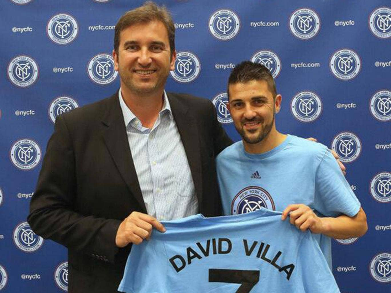 David Villa is presented as the first ever signing for New York City FC