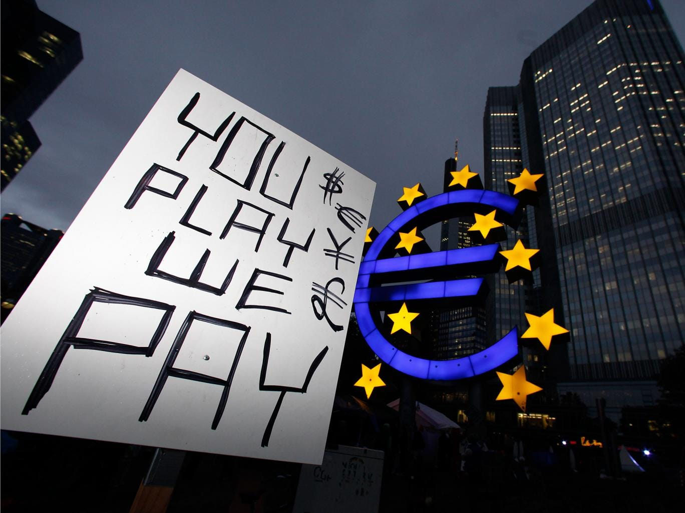 The European Central Bank was surrounded by protesters demonstrating against economic and financial policy as part of the Occupy movement in 2011