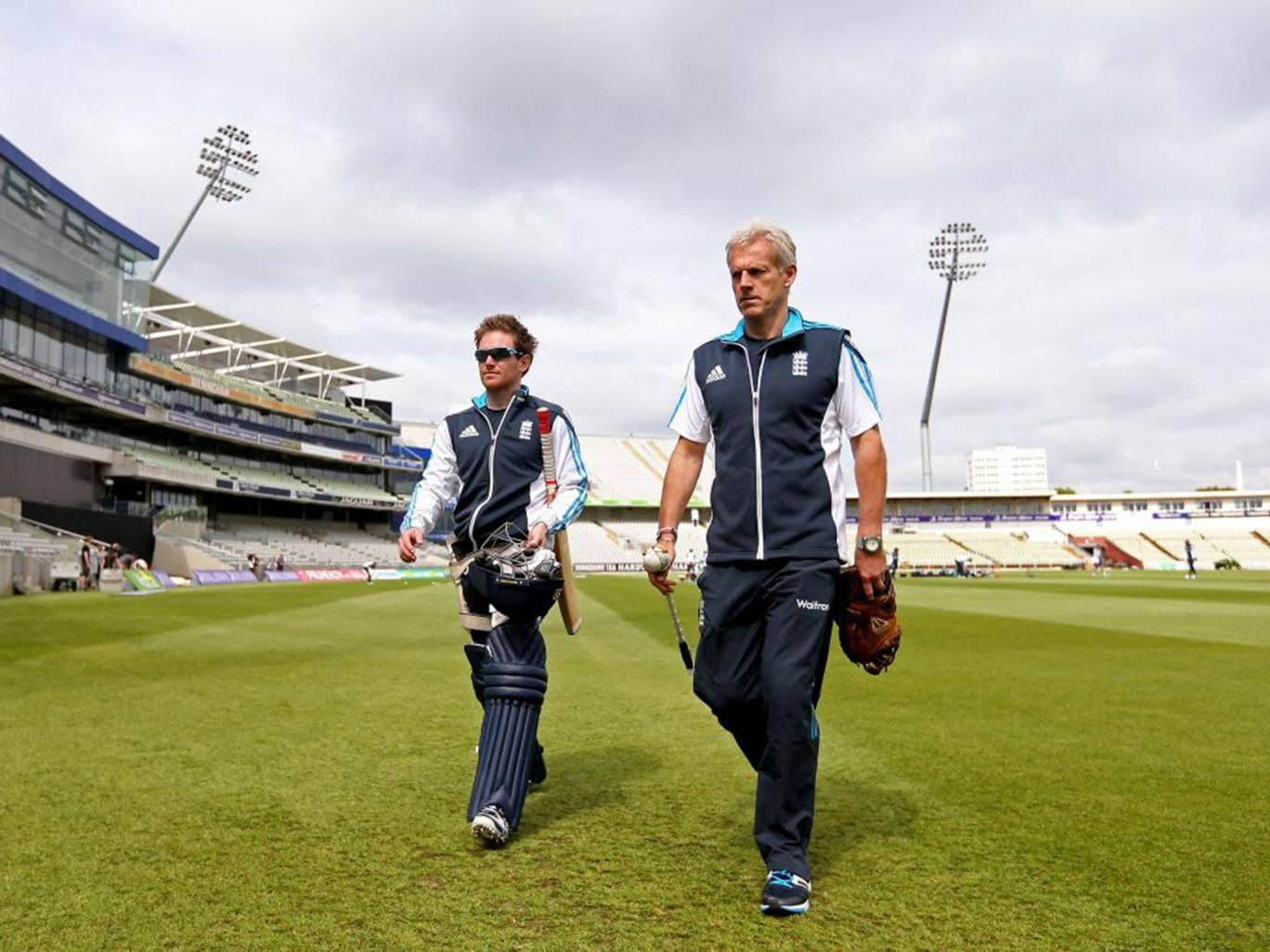 England coach Peter Moores (right) and Eoin Morgan at Edgbaston yesterday before the final game of the one-day series, which stands at 2-2