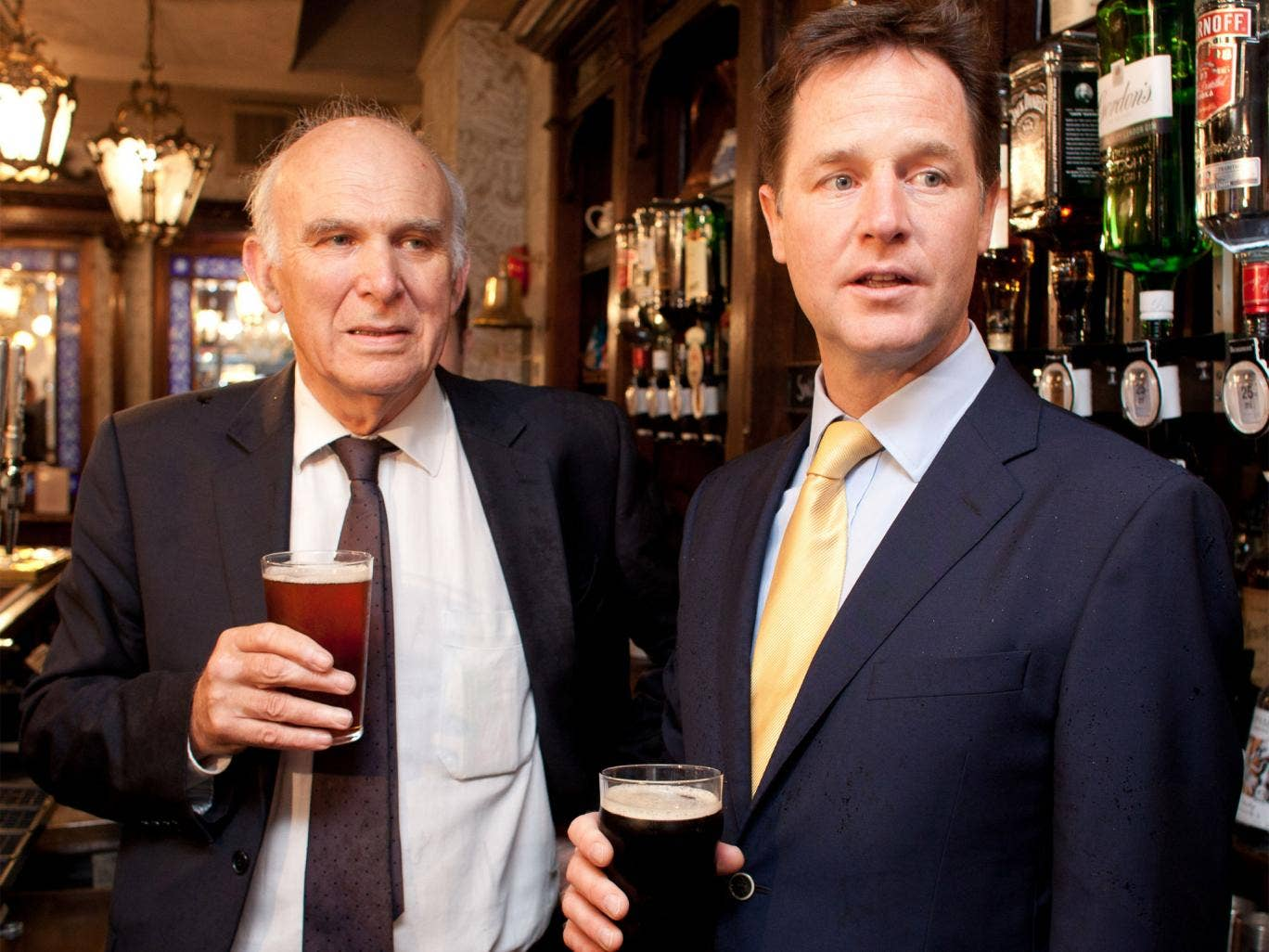 Vince Cable and Nick Clegg at the Queens Head Pub