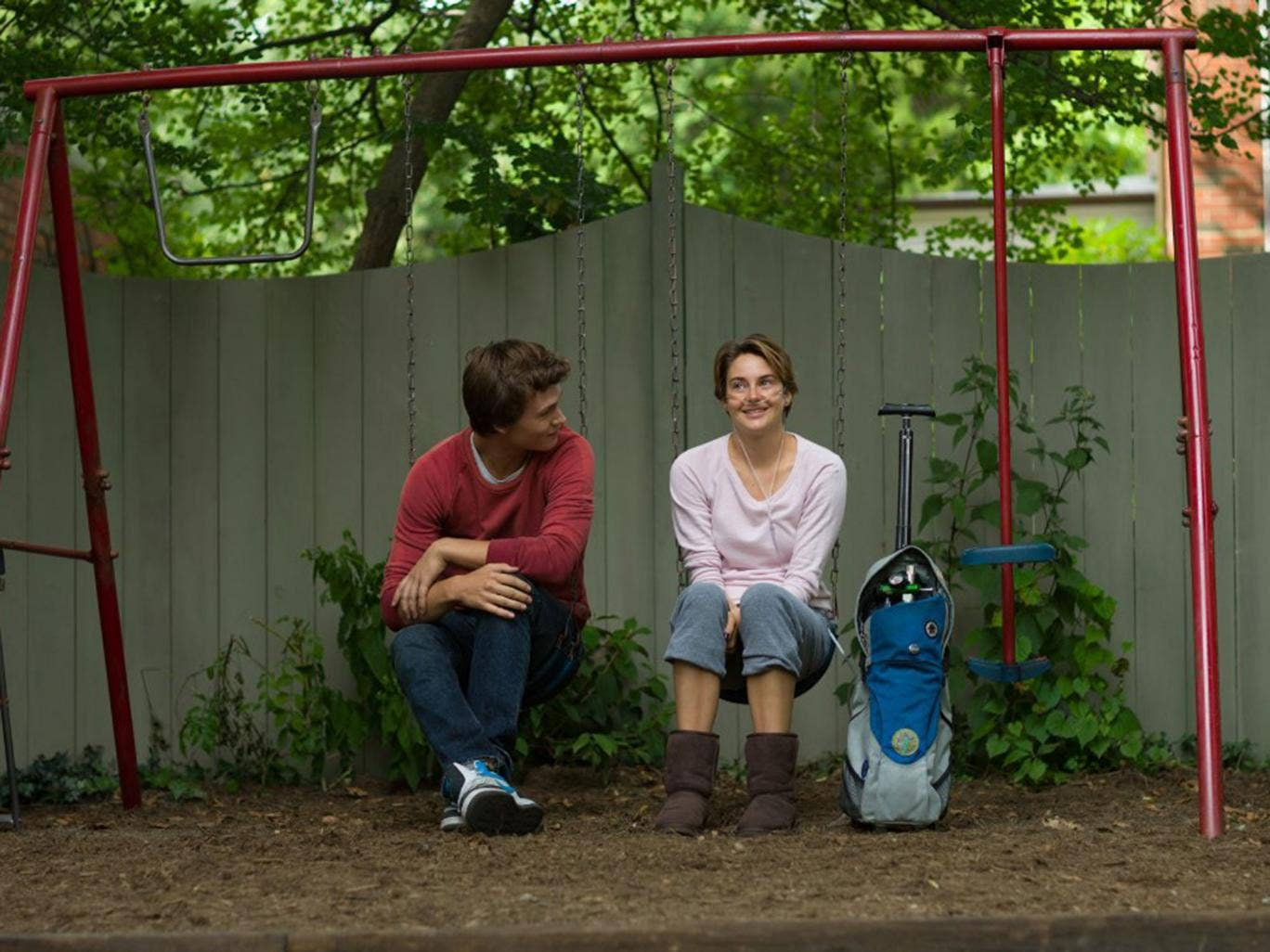 Shailene Woodley and Ansel Elgort star as Hazel and Gus in The Fault in Our Stars