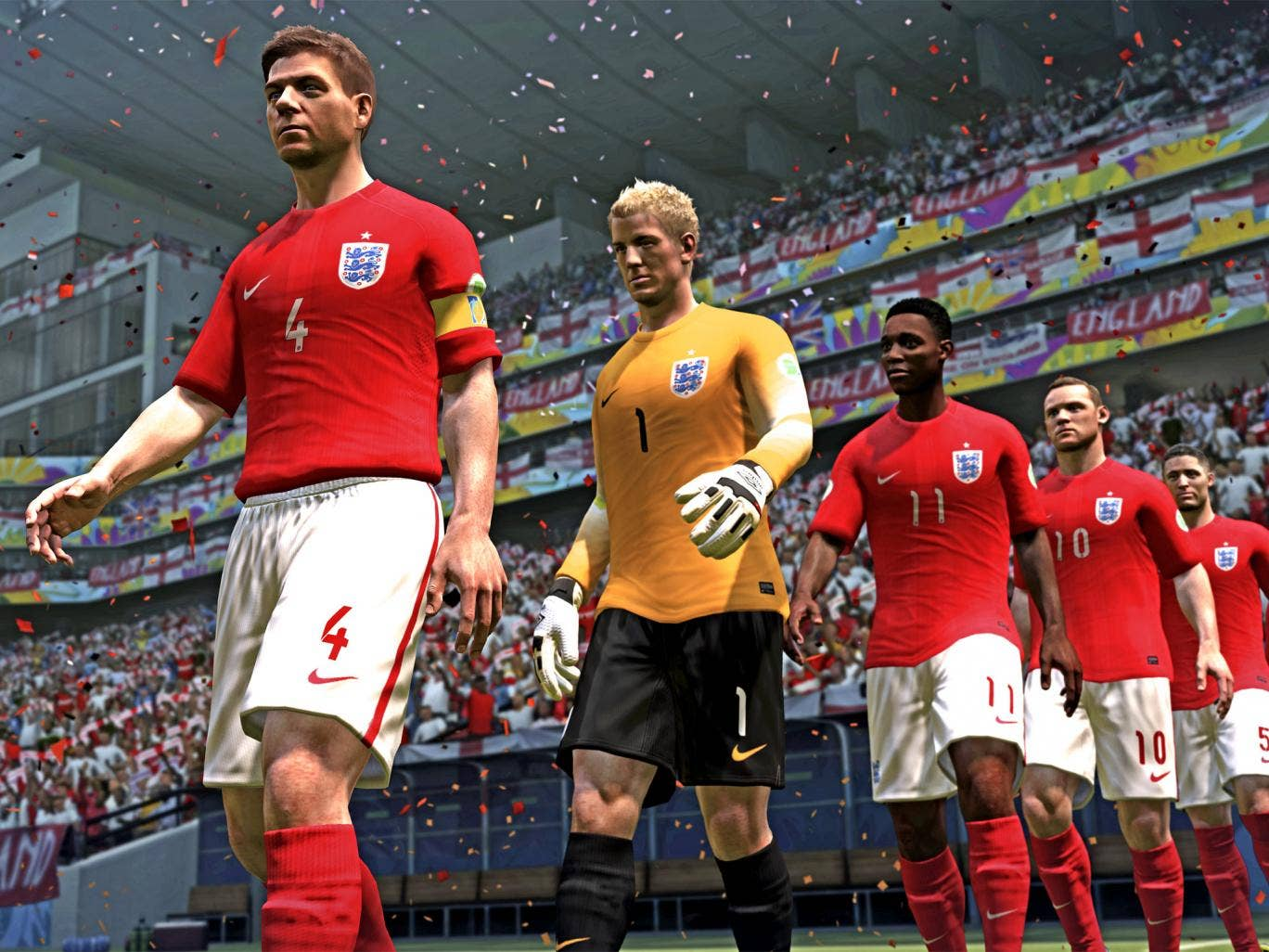 A very different ball game: the England team walk out in 'Fifa 14'