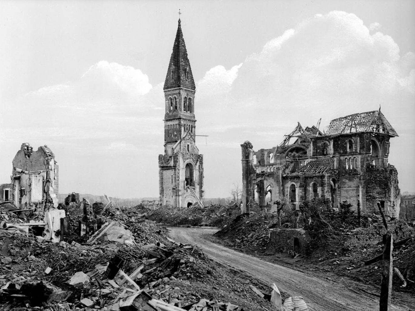 Ruins of the church of Aunay-sur-Odon in late 1944