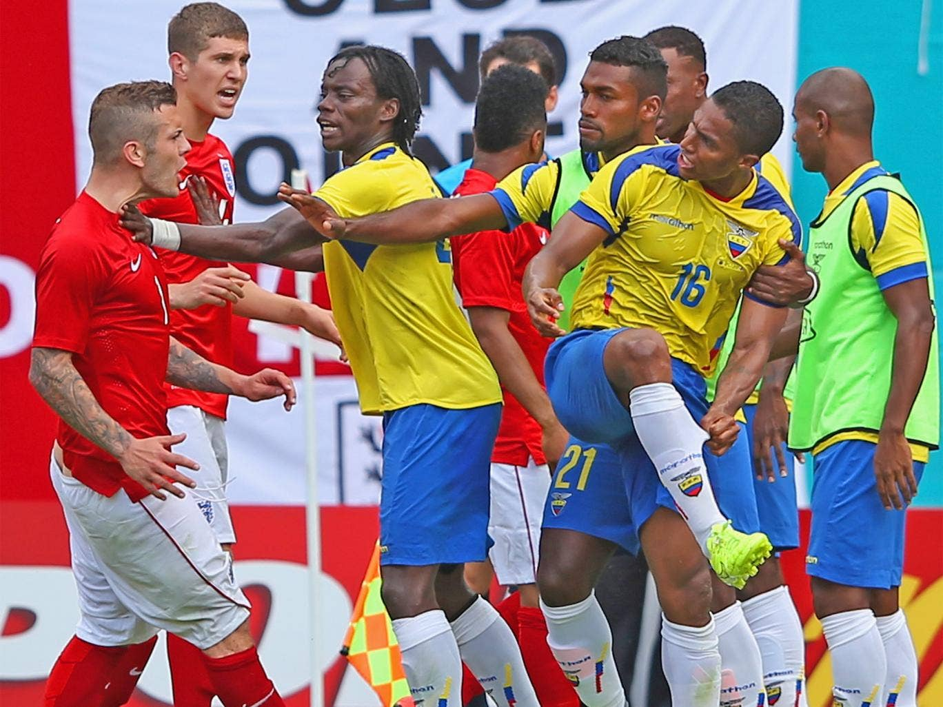 Jack Wilshere confronts Antonio Valencia after his altercation with Raheem Sterling