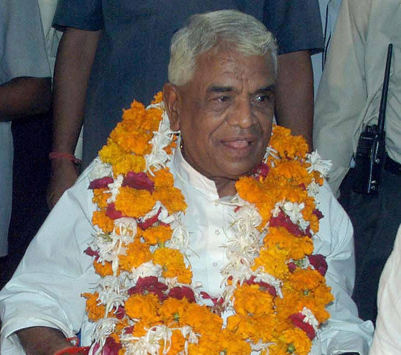 Babulal Gaur pictured at a Bharatiya Janata Party function in Bhopal on 23 August, 2004