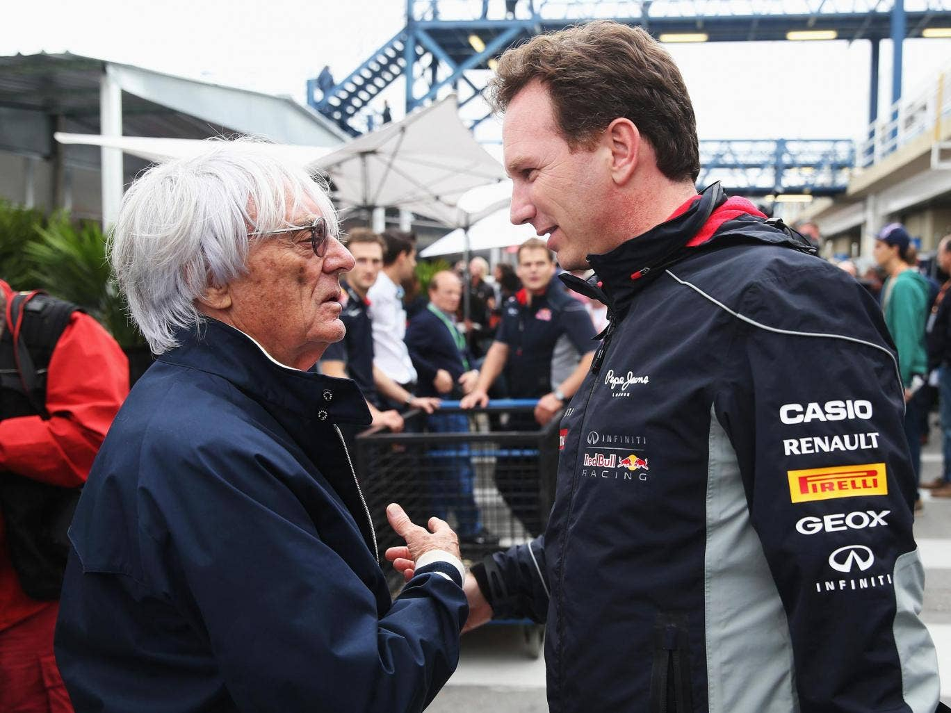 Bernie Ecclestone chatting with the Red Bull principal, Christian Horner