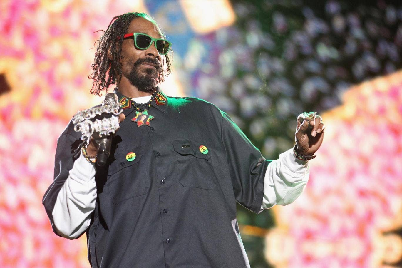 Snoop Dogg performs on stage at Coachella, 2012