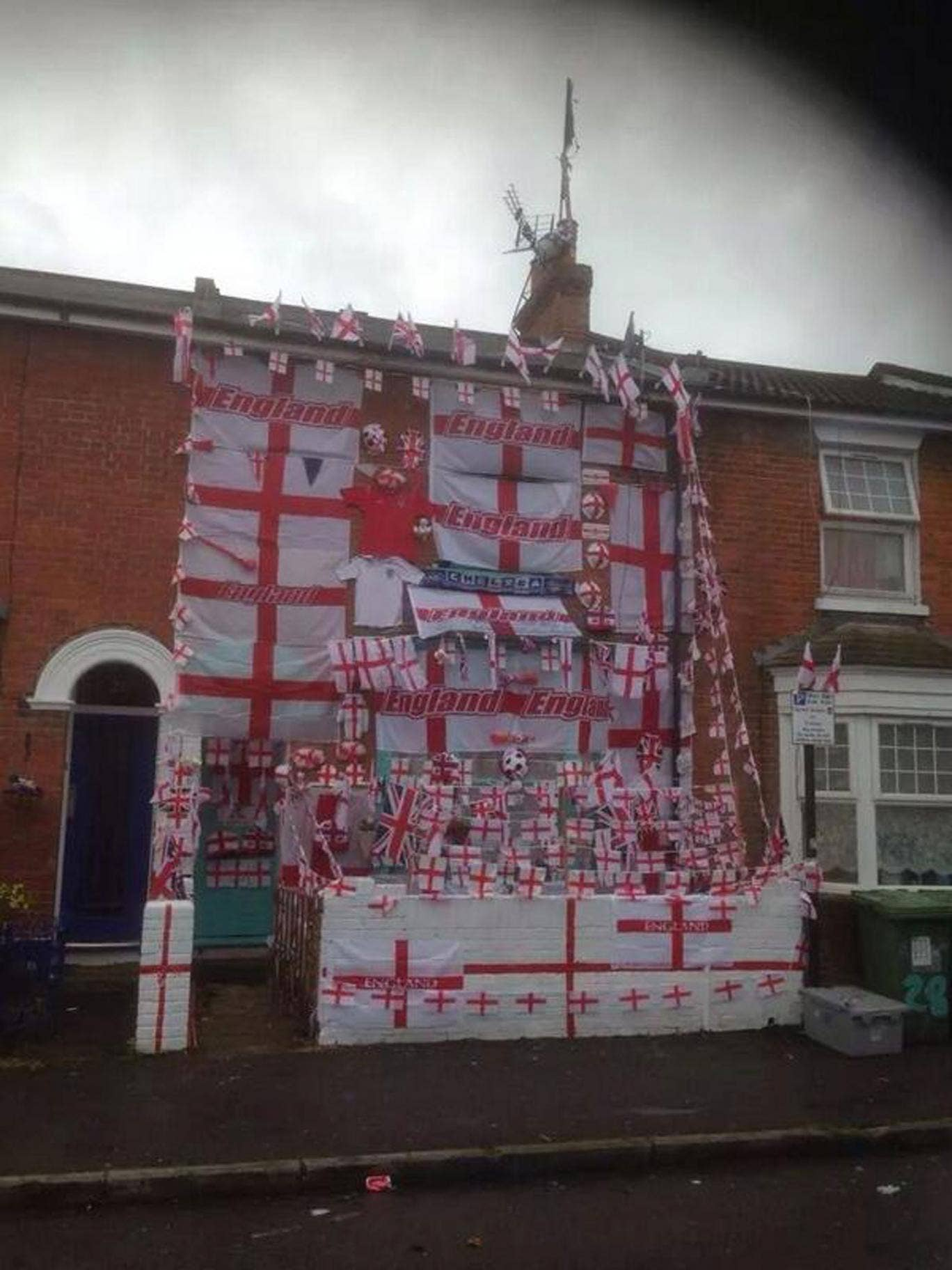 The England house in all its red and white glory