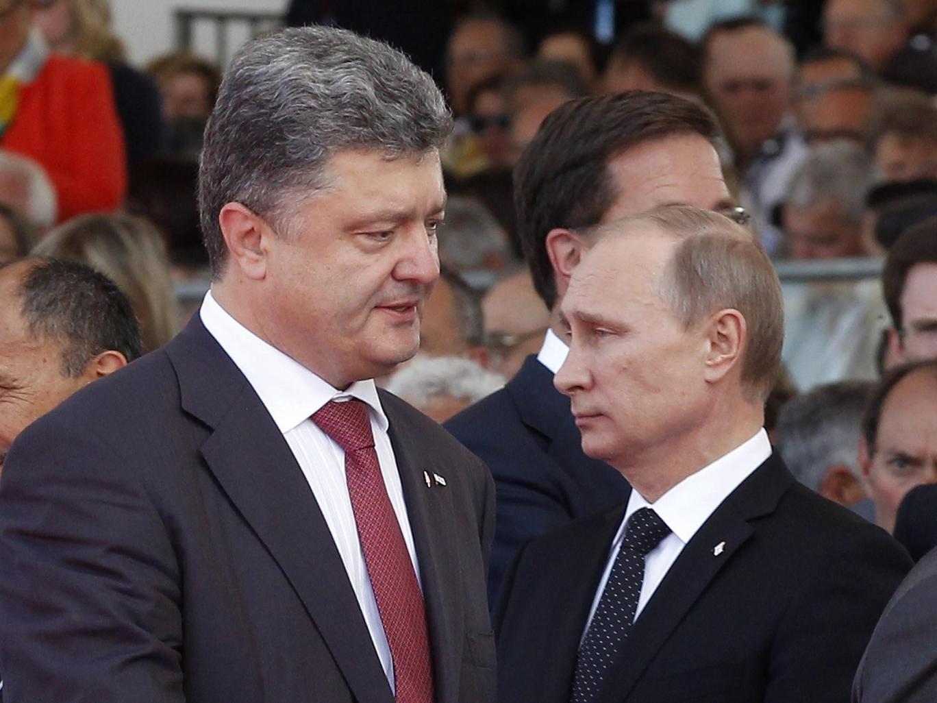 Ukraine's President-elect Petro Poroshenko (left) and Russian President Vladimir Putin