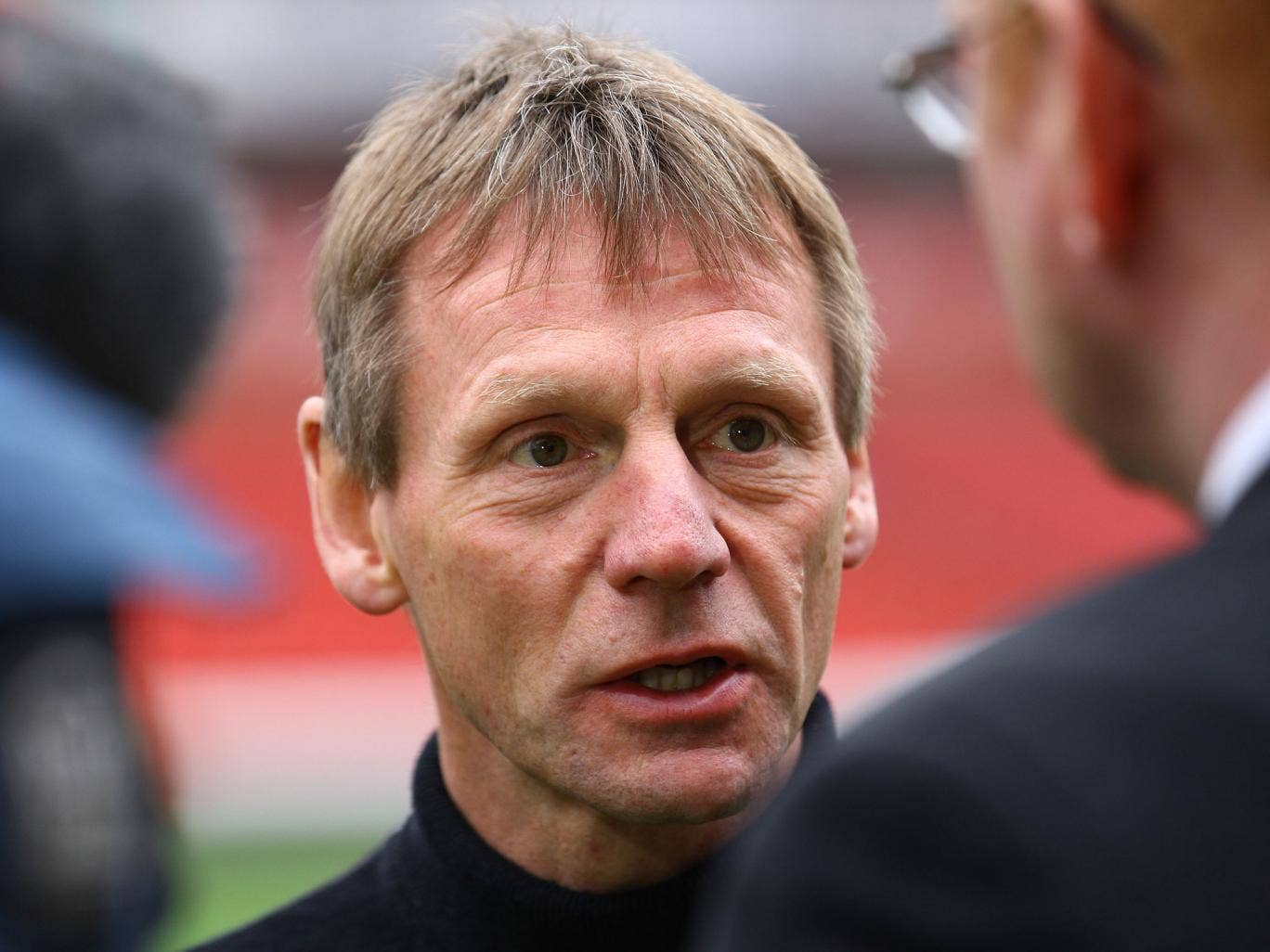 Stuart Pearce is interviewed pitch side after being unveiled as the new Nottingham Forest Manager at the City Ground