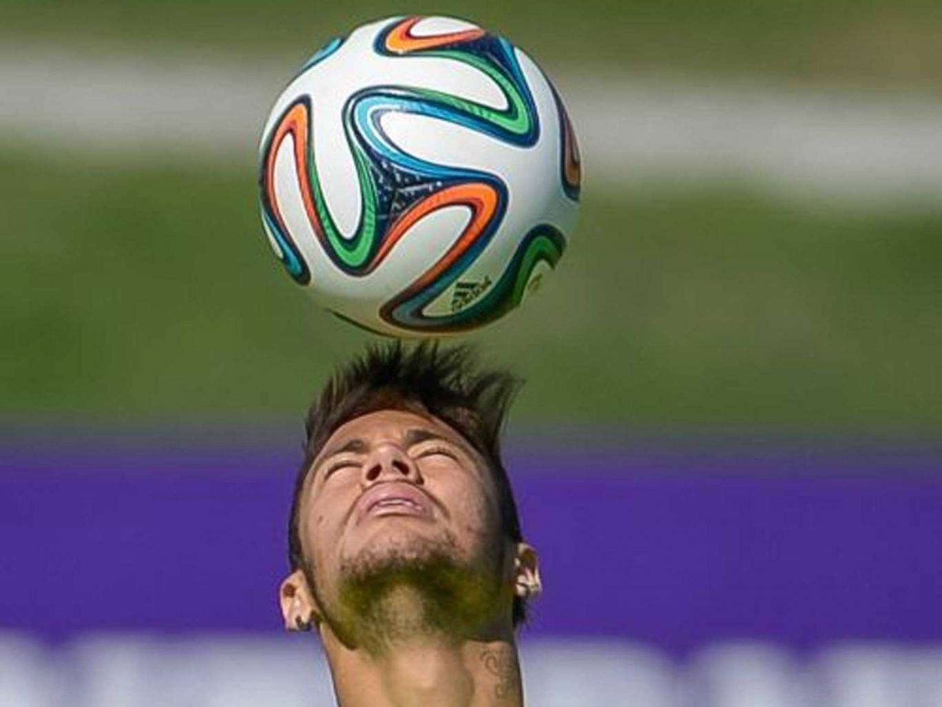 Neymar in action during a training session of the Brazilian national football team