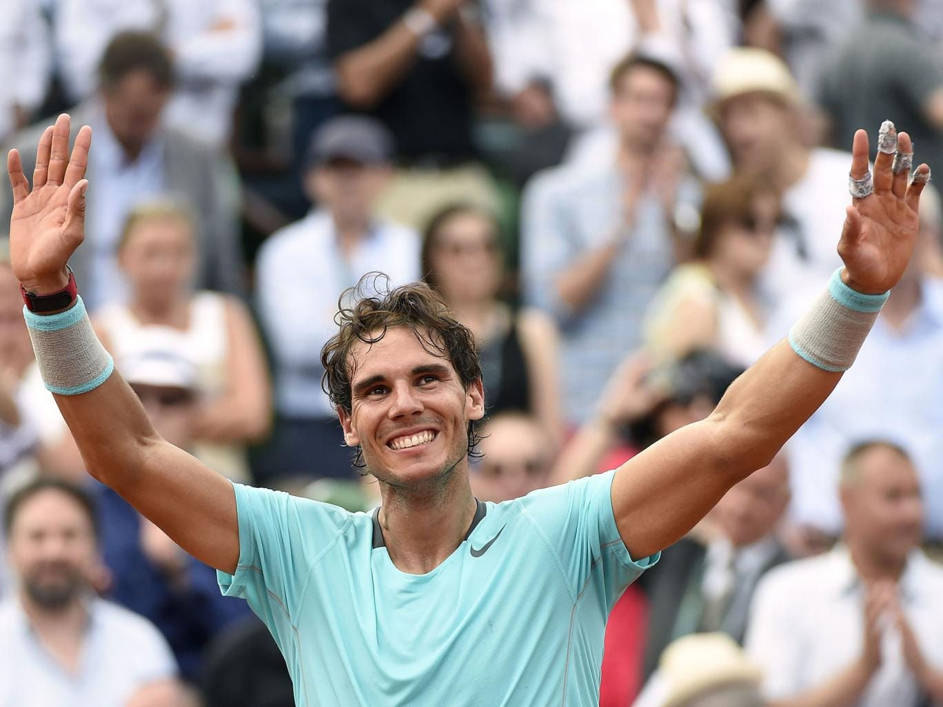 Rafael Nadal celebrates winning the French Open 2014 title after defeating Novak Djokovic