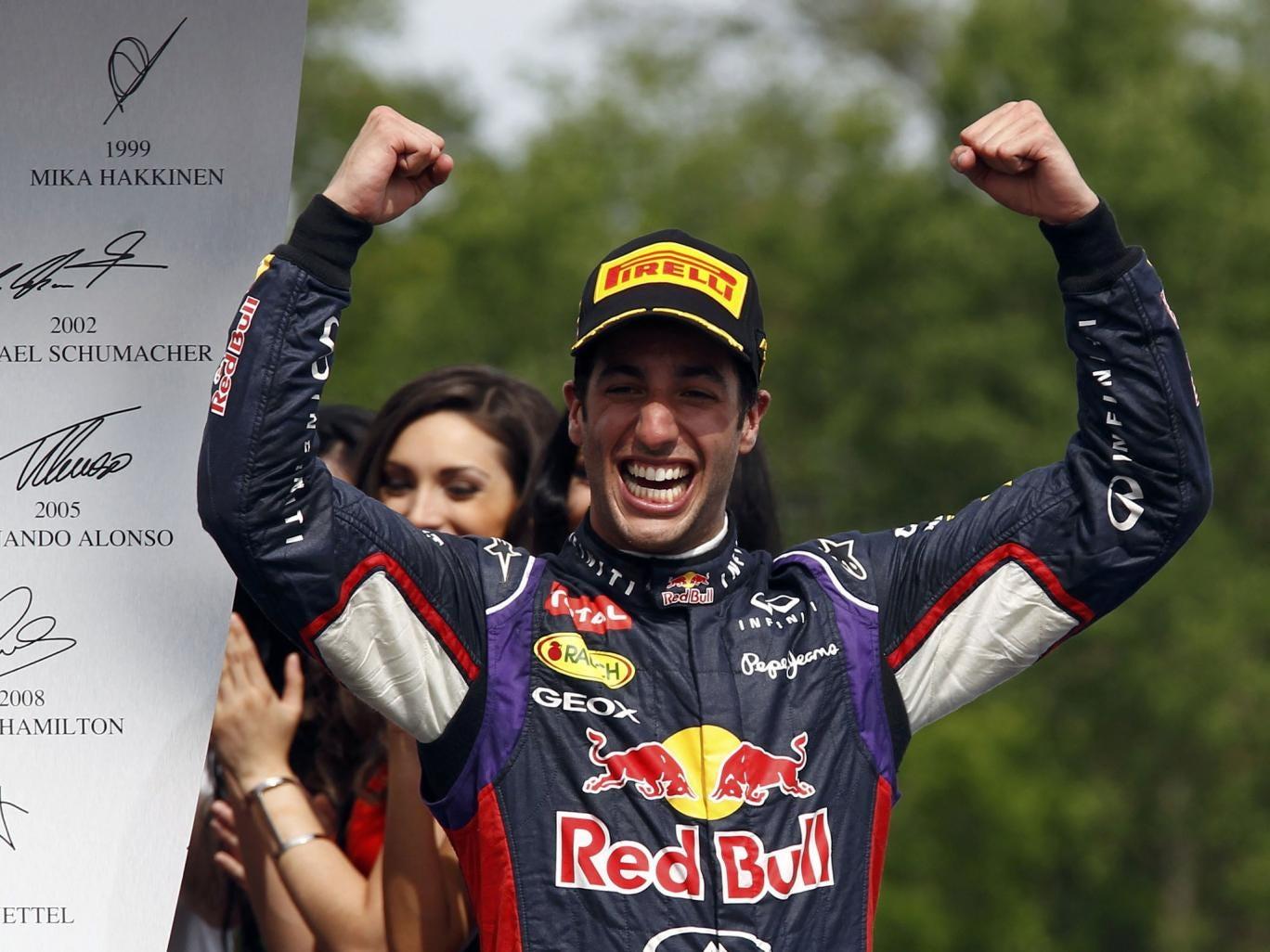 Red Bull Formula One driver Daniel Ricciardo of Australia celebrates after winning the Canadian F1 Grand Prix at the Circuit Gilles Villeneuve in Montreal