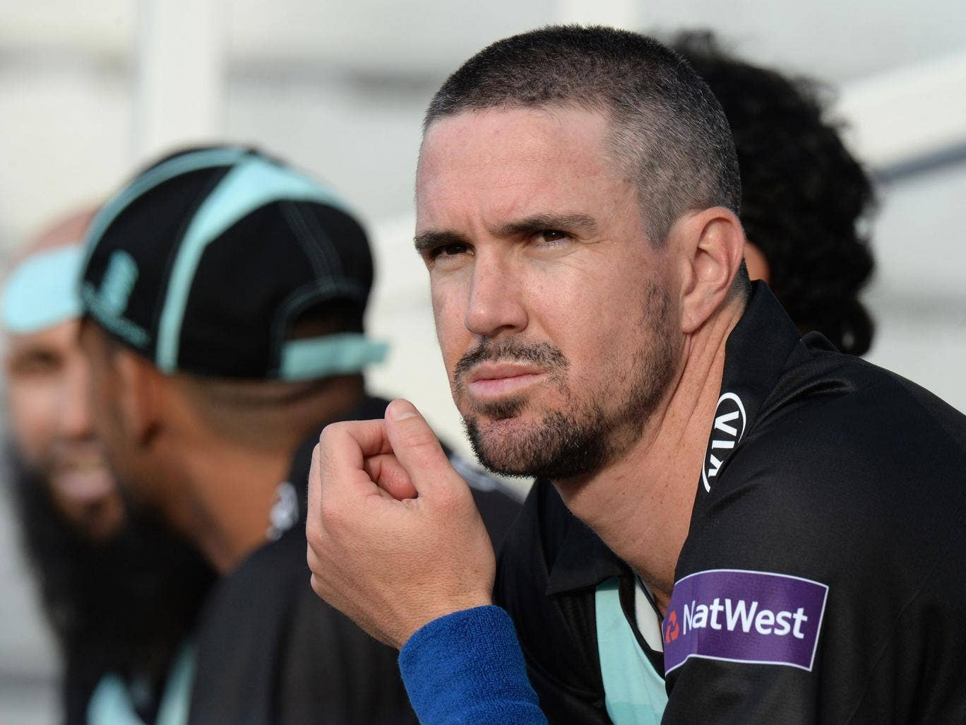 Kevin Pietersen of Surrey sitting on the bench after his innings during the NatWest T20 Blast match between Surrey and Essex Eagles