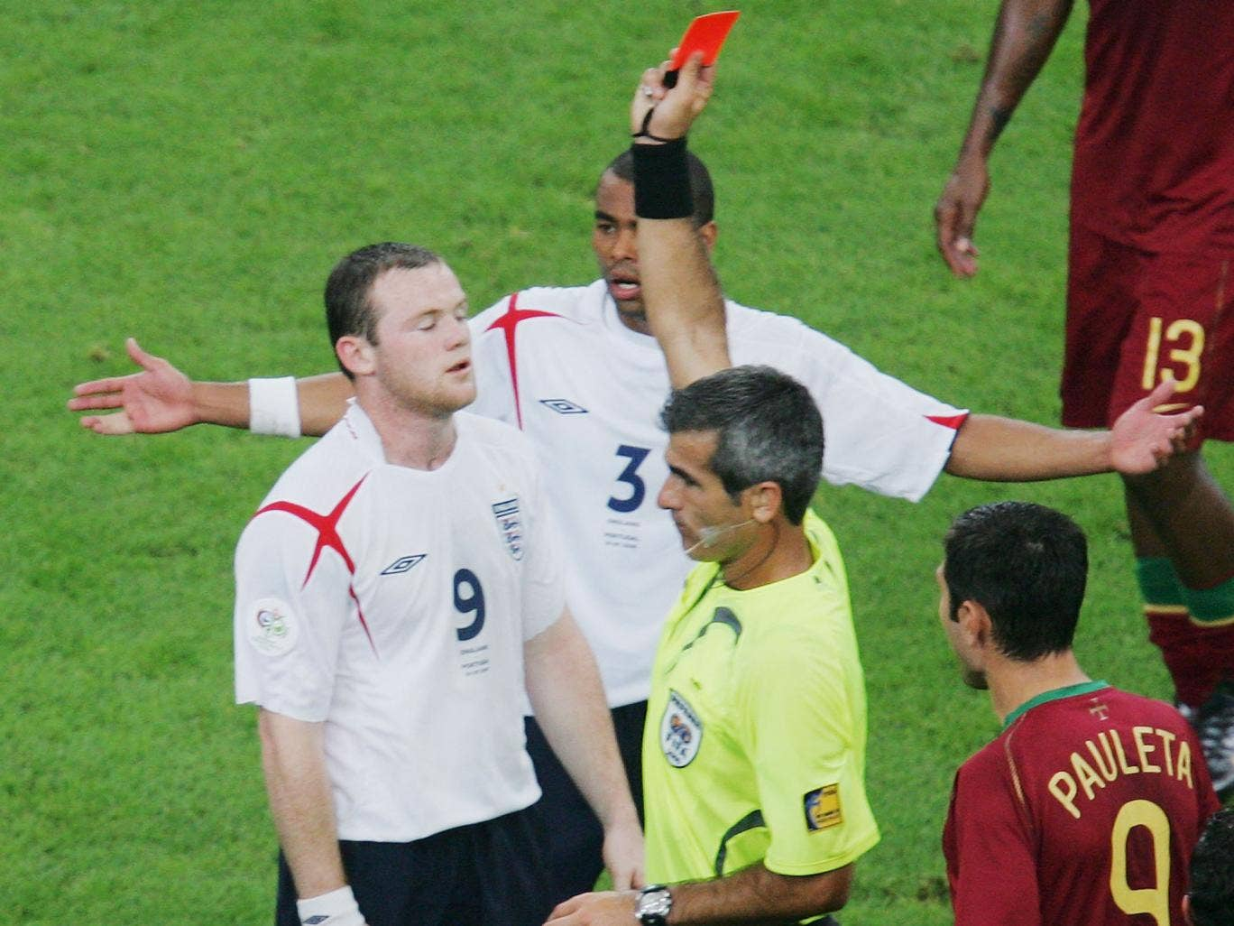 Wayne Rooney was shown a red card at the 2006 World Cup