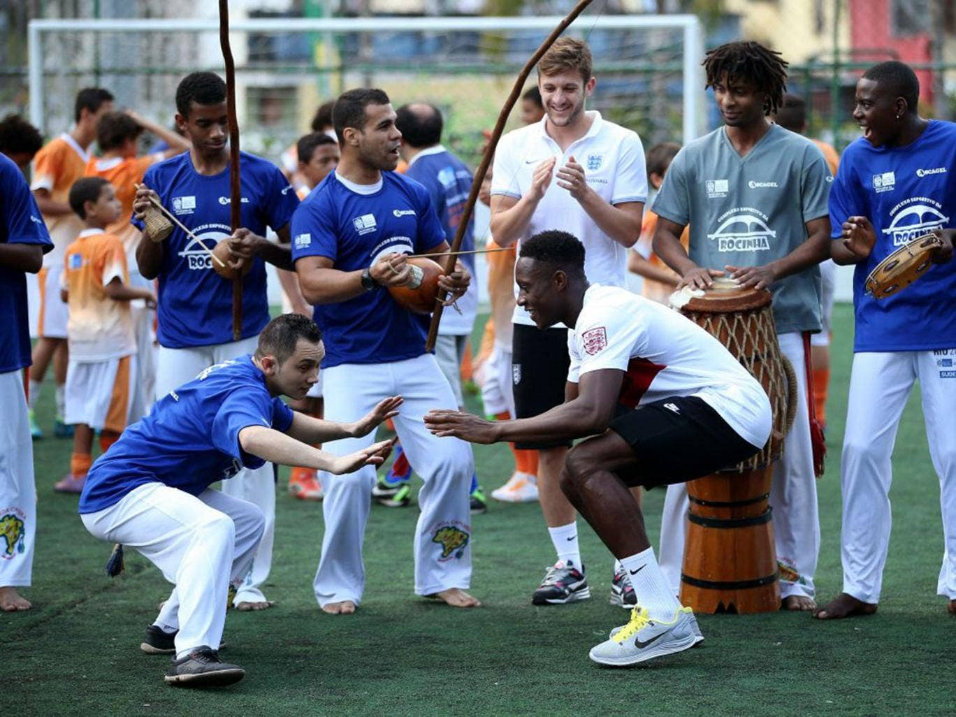 Danny Welbeck and Adam Lallana were among the willing participants in the capoeira session