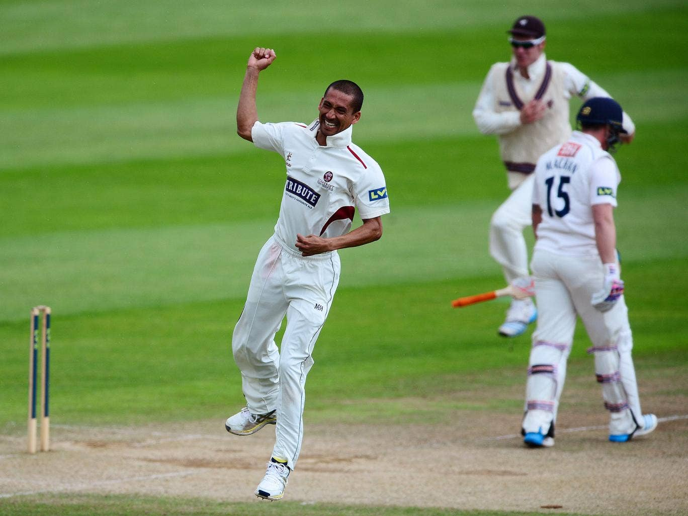 Alfonso Thomas of Somerset celebrates taking four wickets in four balls after dismissing Matt Machan of Sussex during day three of the LV County Championship