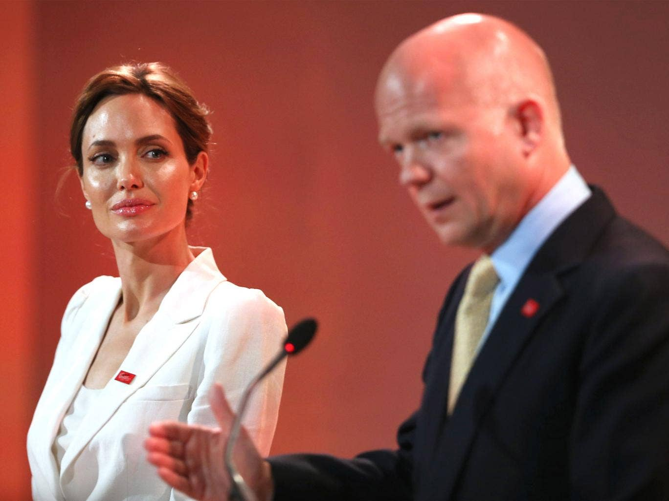 Angelina Jolie and William Hague speak at the Global Summit to End Sexual Violence in Conflict, in London