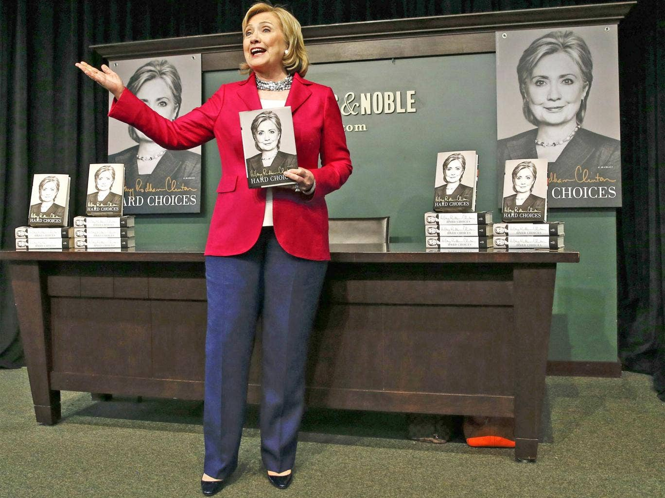 Hillary Clinton was met with enthusiastic supporters excited for a potential campaign at Barnes & Noble in Union Square, New York