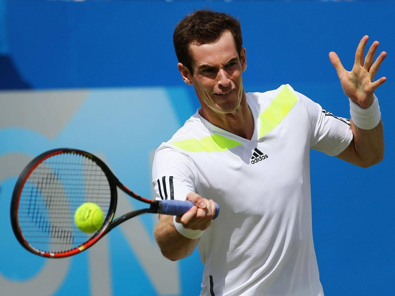 Andy Murray of Great Britain celebrates after winning against Paul-Henri Mathieu of France during their Men's Singles match on day three of the Aegon Championships