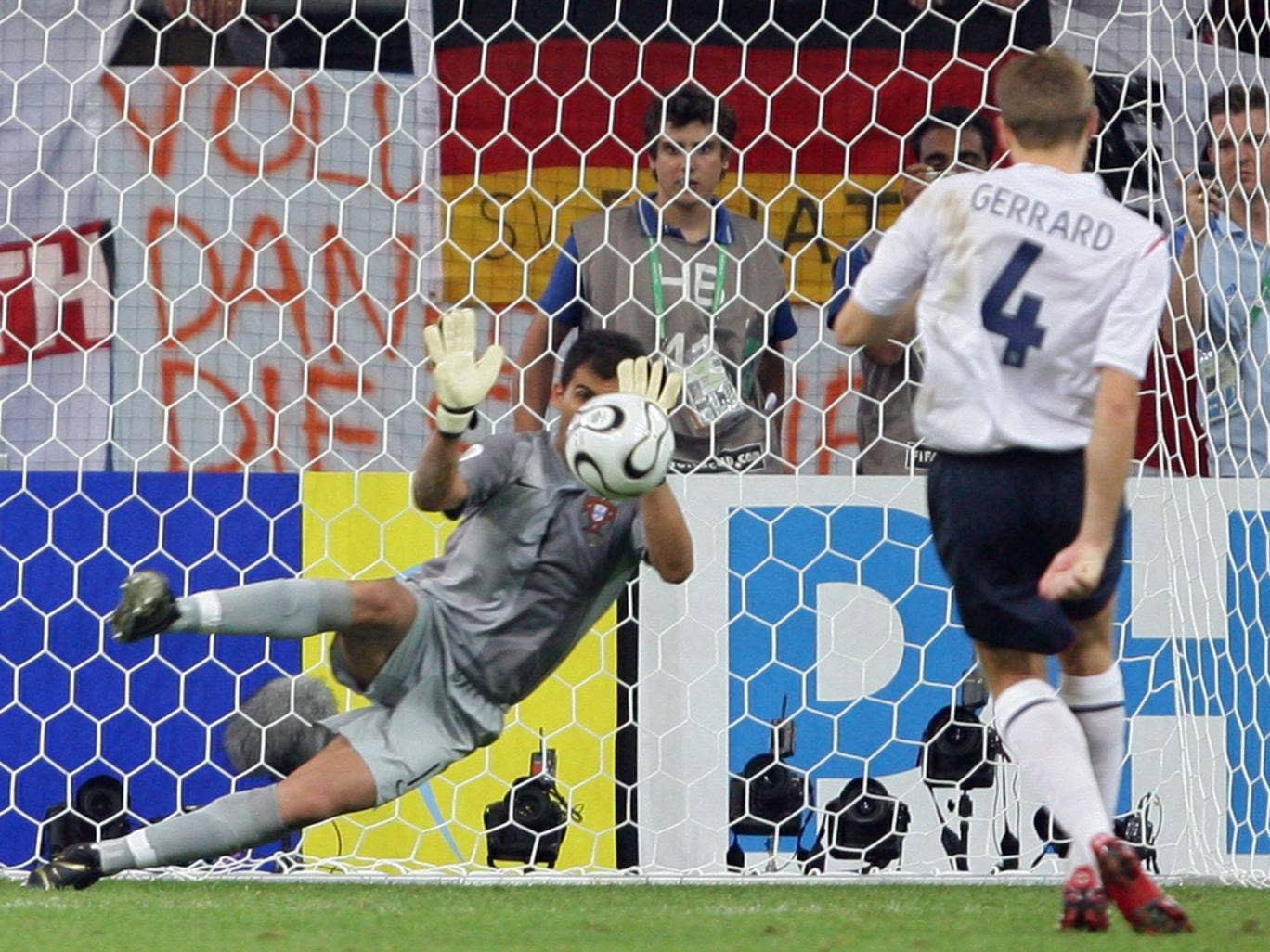 England's Steven Gerrard sees his penalty saved during a yet another heartbreaking shootout defeat at the hands of Portugal in the 2006 World Cup