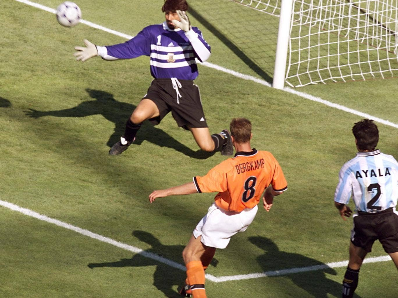 Dennis Bergkamp scored one of the greatest goals in World Cup history to knock Argentina out in 1998