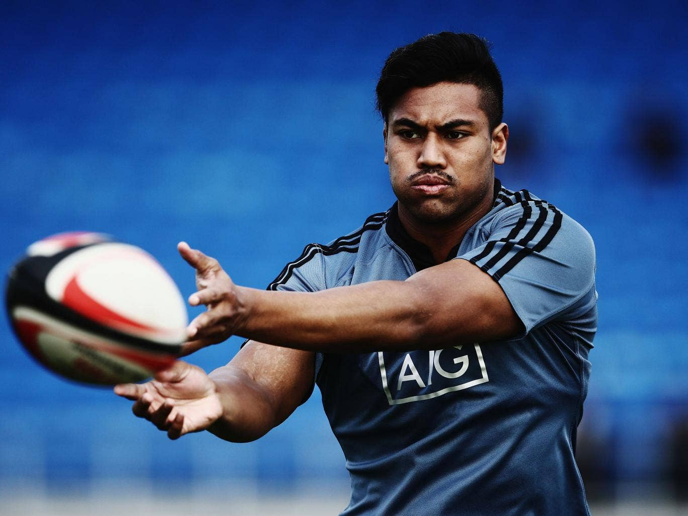 Julian Savea of the All Blacks runs through drills during a New Zealand All Blacks training session