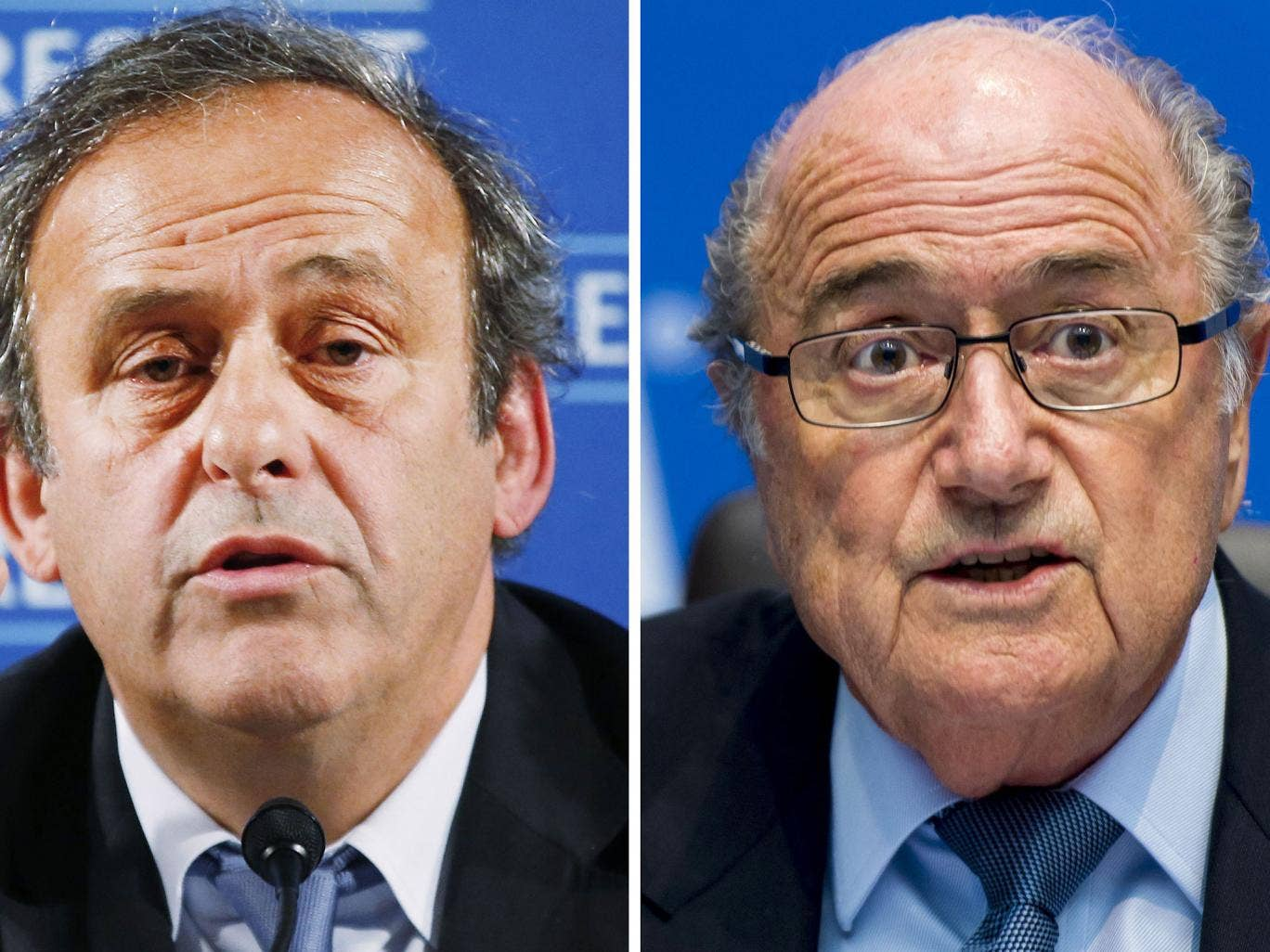 The President of Uefa Michael Platini (left) is marshalling European federations against his former ally Sepp Blatter