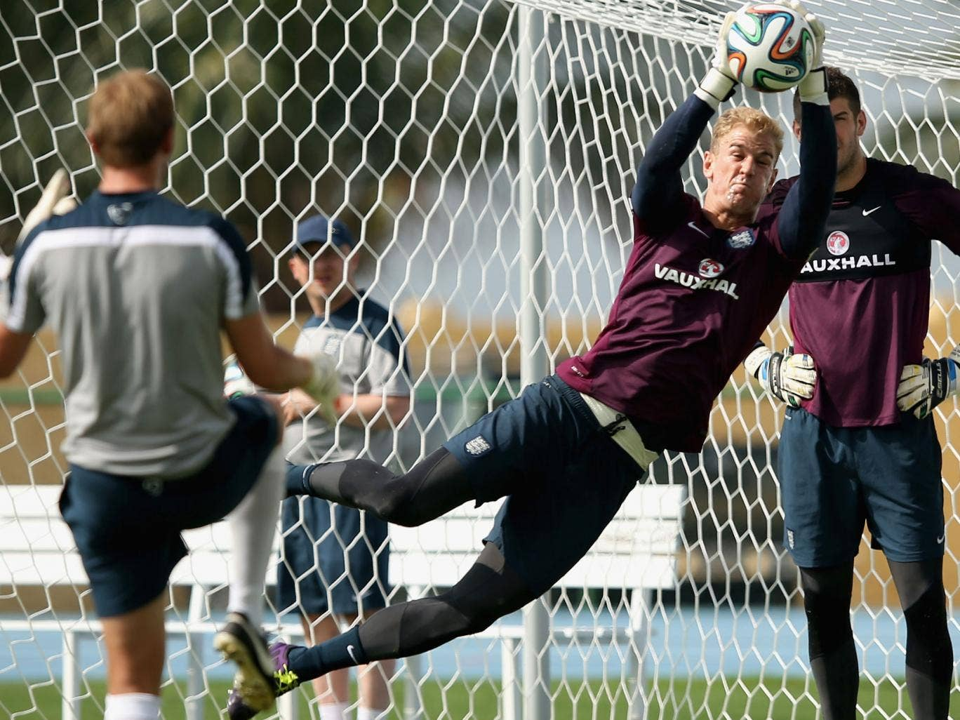 Joe Hart makes a save during England training in Rio this week