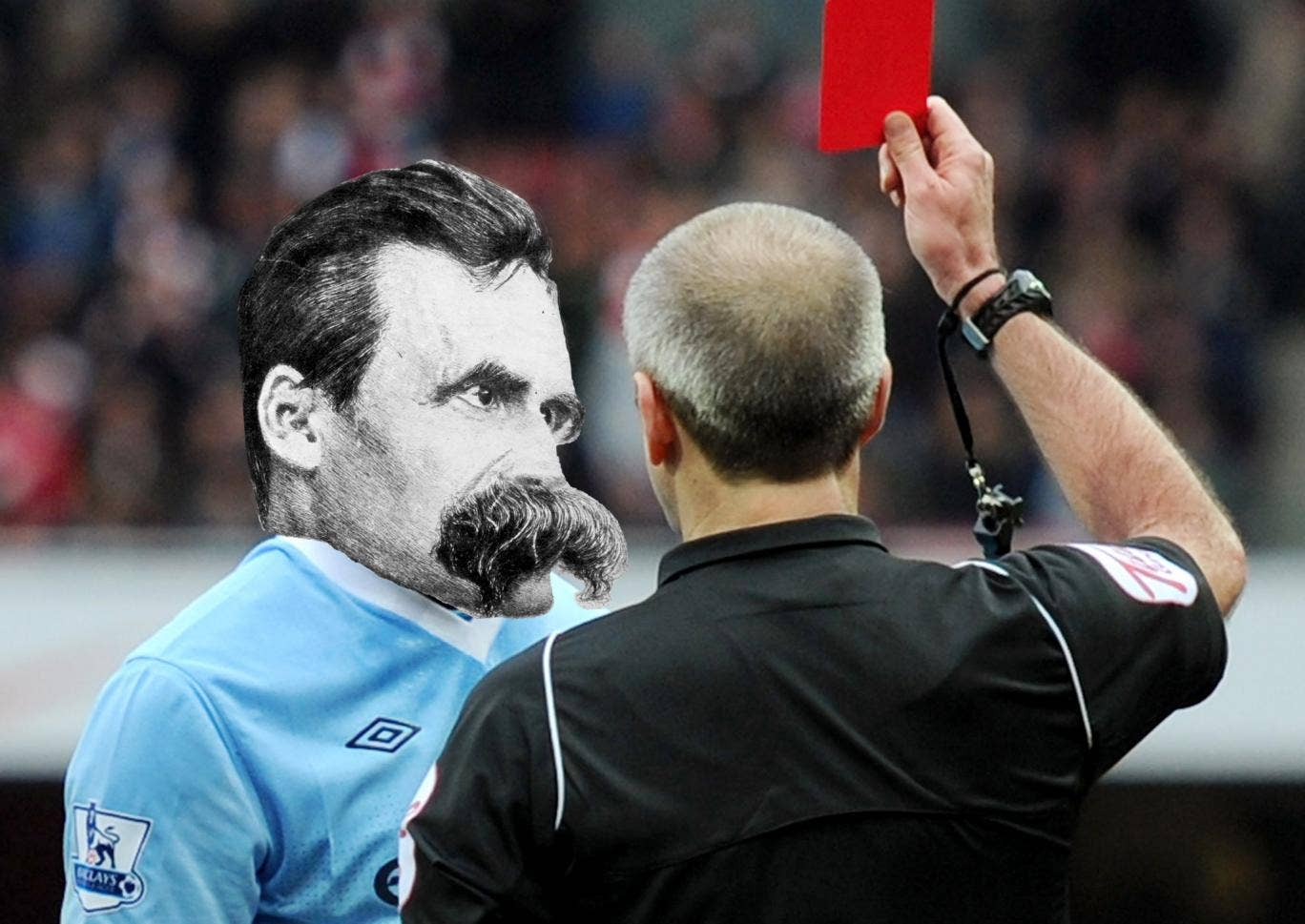 Nietzsche gets sent off the field by a football referee
