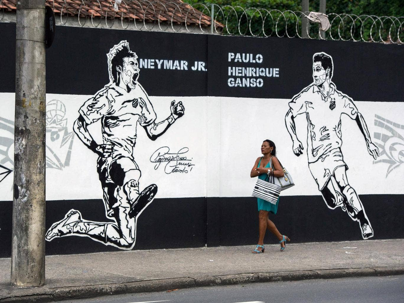 A mural depicting Neymar at the Santos training ground the young Brazilian star used to grace