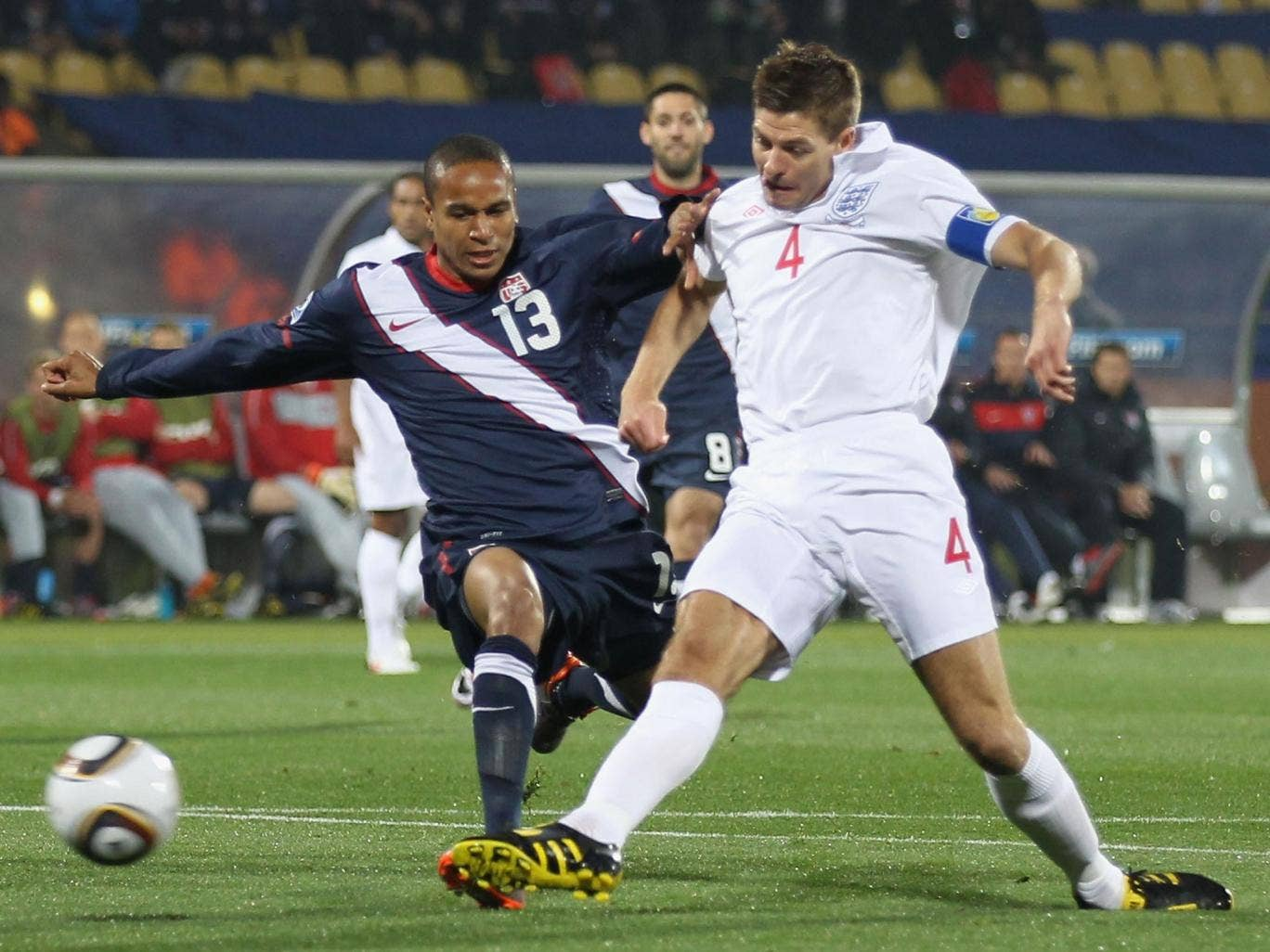 Steven Gerrard scores for England during the 1-1 draw with the United States in their opening game of the 2010 World Cup in South Africa