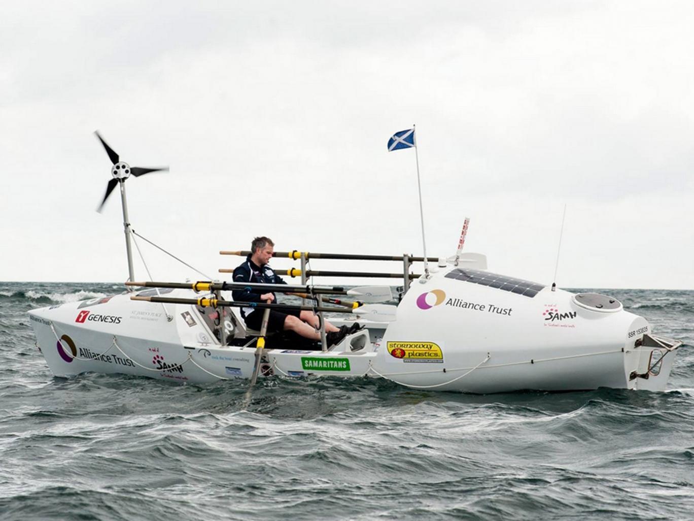 Niall Iain Macdonald in his 24-ft boat